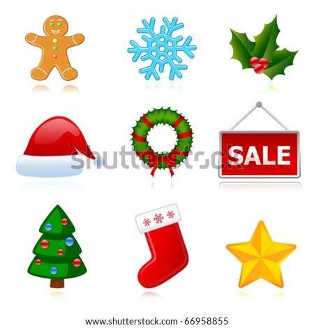 Christmas (New Year) holiday icons set. Each icon in a separate layer, all the shadows, too. Eps10