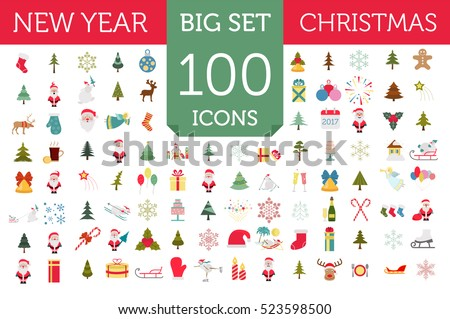 Christmas, New Year holidays icon big set. Xmas decoration. Flat style collection. Vector illustration