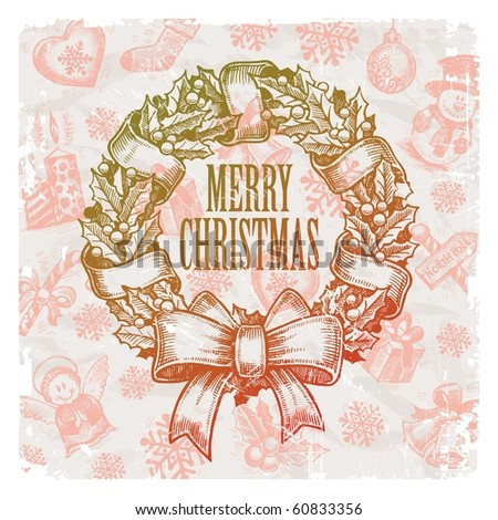Christmas & New year holidays vector hand drawn illustration