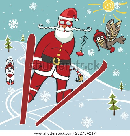Christmas,New year Illustration,card. Santa Claus jumping from springboard.Near hare and owl,forest landscape.Trendy flat design,simple image.Winter sport.Vector humorous Illustration.