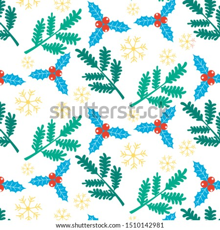 Christmas New Year pattern of coniferous branches of snowflakes holly holly. Festive background. Editable Vector Illustration