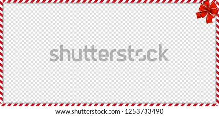 Christmas, new year rectangle candy cane frame with red and white striped lollipop pattern and festive bow isolated on transparent background. Holiday xmas border. Vector illustration, template.