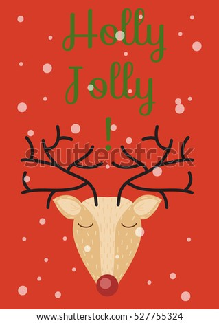 christmas new years card template hand drawn holly jolly wishes and deer vector