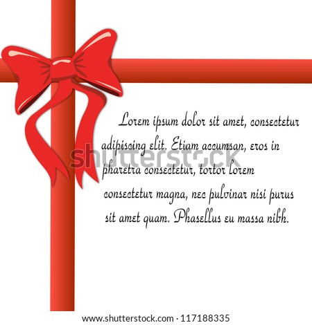 Christmas & New Year's greeting card with a red ribbon and place for your text, vector illustration