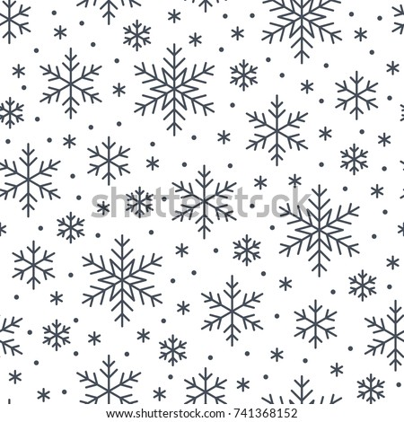 Christmas, new year seamless pattern, snowflakes line illustration. Vector icons of winter holidays, cold season snowfall. Celebration party black white repeated background.