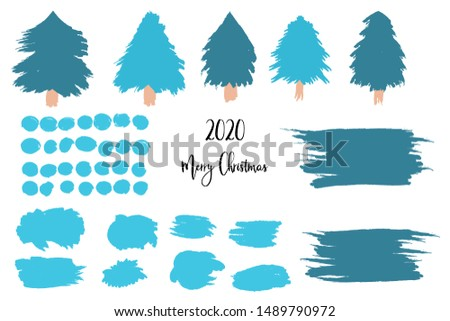 Christmas, New Year set of isolated elements, Christmas trees, snowballs, snowflakes, scribbled backgrounds, brush strokes. New Year and Christmas scene creation, for winter holidays illustrations.