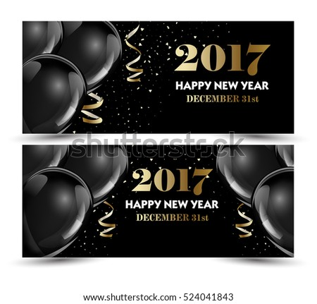 christmas new year set of luxury christmas new year banner templates with black hot