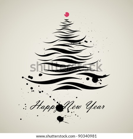 christmas new year tree calligraphic art