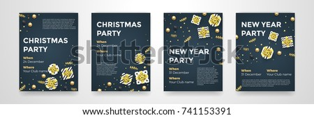 Christmas, New Year winter holiday party posters design template of golden glittering xmas decorations. Vector confetti and present in gold star ribbon bow for invitation card black  background #741153391