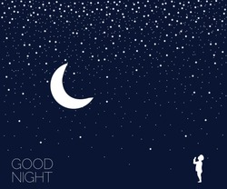 Christmas night. Dreaming time. Concept idea. Good night. Place for your text. Vector illustration. EPS 8