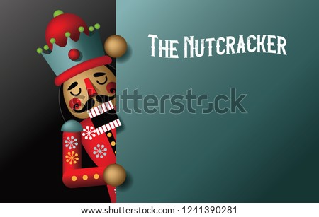 Christmas nutcracker illustration. Wooden soldier toy gift from the ballet. EPS 10 vector illustration.