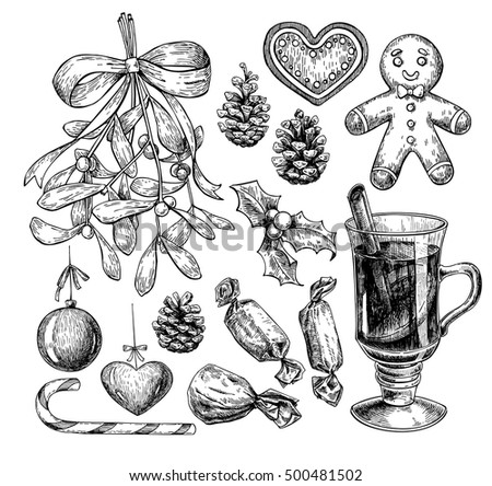 Christmas object set. Hand drawn vector illustration. Xmas icons collection. Holiday engraved decorations. Holly, mistletoe, gingerbread man, mulled wine, pine cone, candy, xmas ball