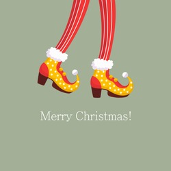 Christmas of cute elf leg. Shoes for the feet of elves, the leg of the gnome's helpers of Santa Claus in a set of pants. Shoes, funny striped socks and boots. Vector illustration