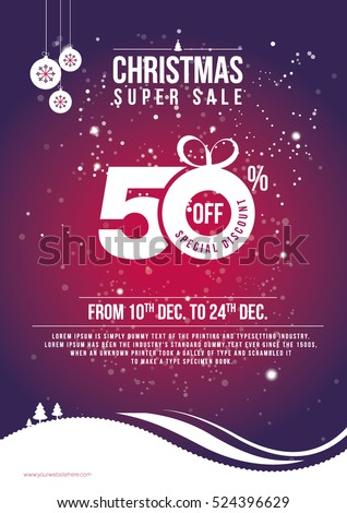 Christmas Offer Template Design with 50% Discount Tag - A4 Festival Sale Poster Layout Template with 50% Discount