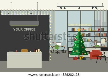 christmas office illustration