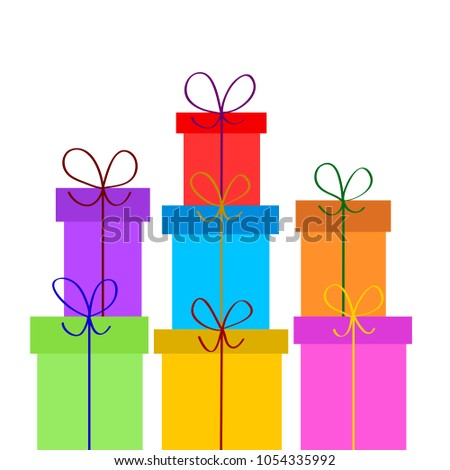 Christmas or birthday gift boxes on white, stock vector illustration