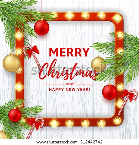 Christmas or New Year banner. Vector illustration. Xmas background with red and golden balls. Festive backdrop with candy canes on fir-tree branches. Greeting card with retro frame with glowing lamps.