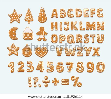 Christmas or New Year gingerbread cookies alphabet, arabic numbers and signs. Set of isolated figures covered icing-sugar on white background. Full english ABC. Vector cartoon illustration