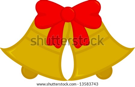 christmas or wedding bells with ribbon - stock vector