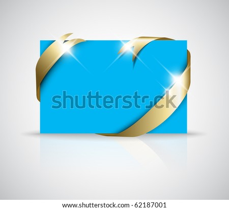 stock vector Christmas or wedding card Golden ribbon around blank blue