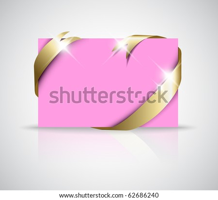 stock vector Christmas or wedding card Golden ribbon around blank pink