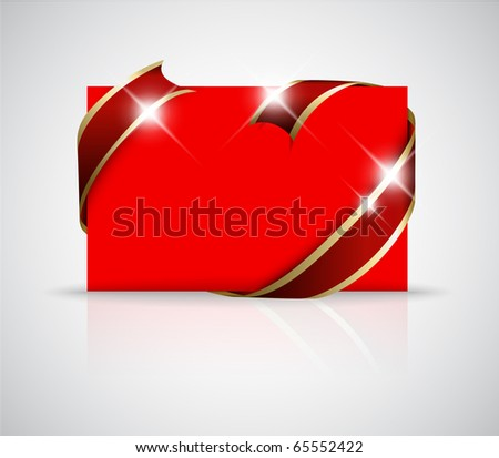 stock vector Christmas or wedding card Golden ribbon around blank red