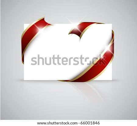 Christmas or wedding card - Golden ribbon around blank white  paper, where you should write your text