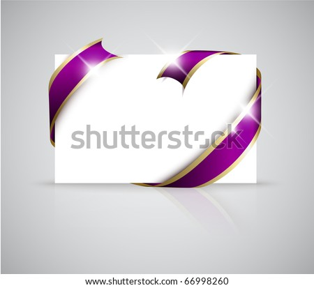 stock vector Christmas or wedding card Golden ribbon around blank white