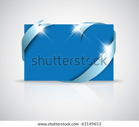 Christmas or wedding card - silver ribbon around blank blue paper, where you should write your text