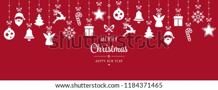 christmas ornament elements hanging red background