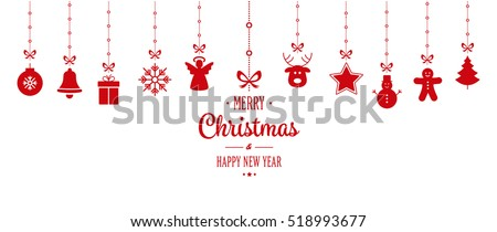 christmas ornament hanging red isolated background