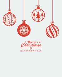 christmas ornament hanging red isolated background vector illustration