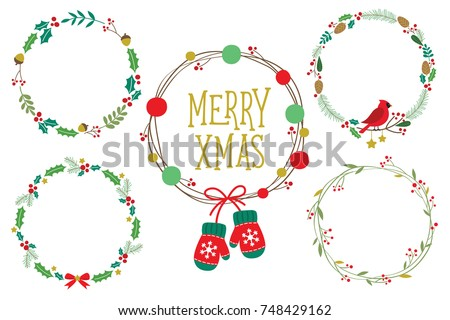 christmas ornament wreath frame vector illustration set with red berries green leaves red robin