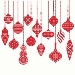 Christmas Ornaments,Christmas Balls Decorations, Christmas Hanging Decoration set.Vector illustration.