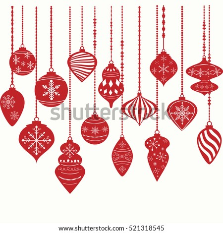 Christmas Ornaments,Christmas Balls Decorations, Christmas Hanging Decoration set.Vector illustration.