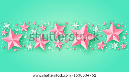 Christmas ornaments decorated consisting of stars, snowflakes and balls on green background. Merry Christmas and happy new year. paper cut and craft style. vector, illustration.