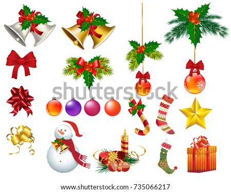 christmas ornaments isolated vectors