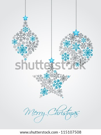 Christmas ornaments made from snowflakes vector illustration - stock vector