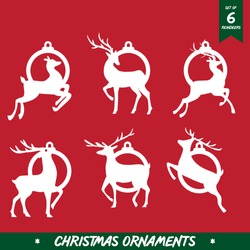 Christmas ornaments Set, Laser - CNC Ready, Christmas Holiday Collection Set, Vector - Illustration