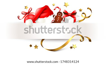 Christmas ornaments with paper banner and golden ribbons