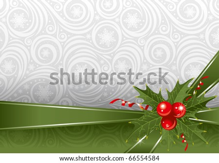 Christmas ornate background with holly berry