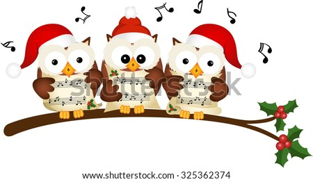 christmas owls choir singing
