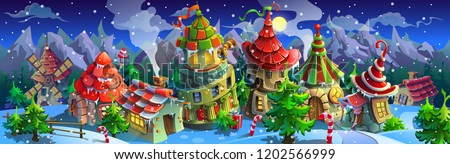 Christmas.  panorama of  fairytale village with colorful houses and a mill. Vector illustration for design.