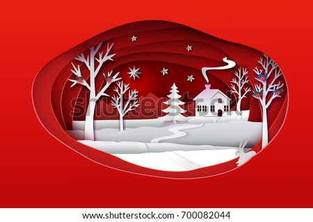 christmas paper art red tone
