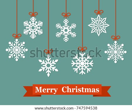 Christmas paper card with hanging snowflake. Vector flat illustration.
