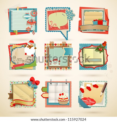 Christmas Paper notes Scrapbooking elements