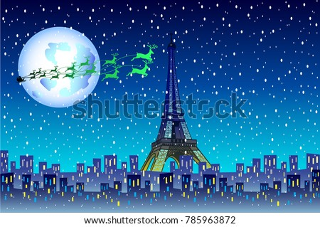 christmas paris with eiffel