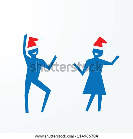 christmas party concepts, paper people cutouts illustrations