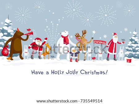 Christmas Party fireworks in winter forest. Party with participation of Santa Claus and funny forest animals: elk, deer, fox, hares and bears. For posters, banners, sales and other winter events.