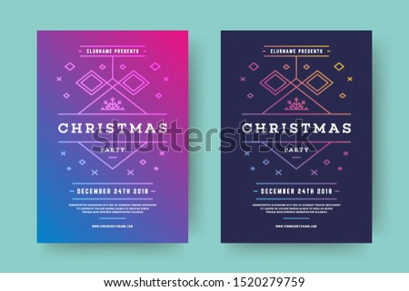 Christmas party flyer event modern typography and decoration elements. Christmas holidays event invitation or poster design. Vector illustration. #1520279759
